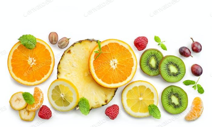 various fresh fruit slices