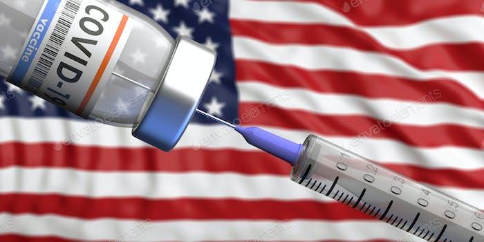 USA Coronavirus-Impfstoff, Sputnik V. Covid-19 Impfung, US of America Flagge Hintergrund.