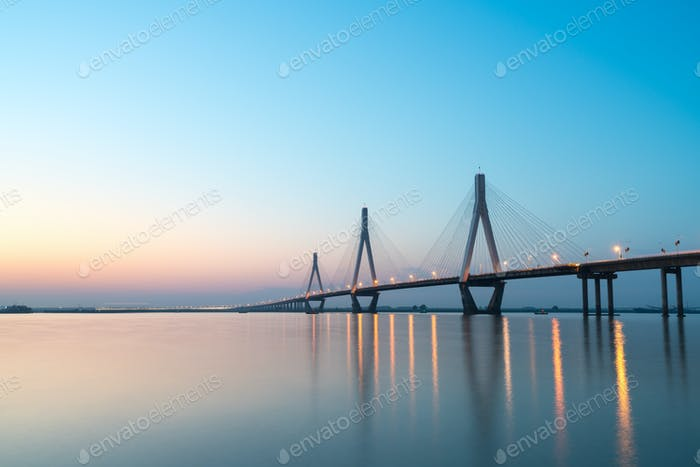 dongting lake bridge in sunset