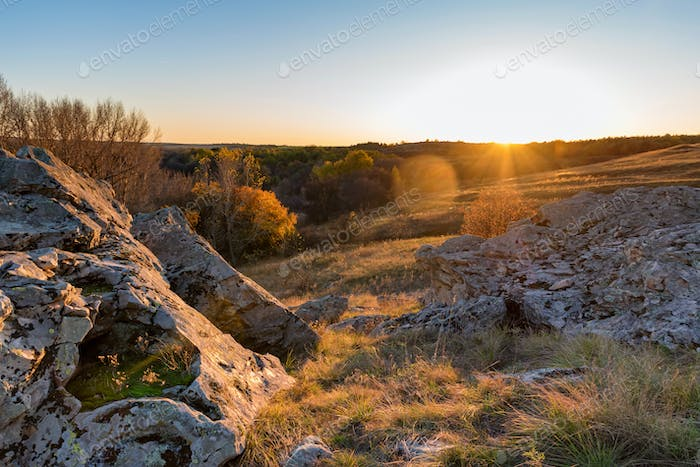 Beautiful view of Don steppe in autumn lit by setting sun