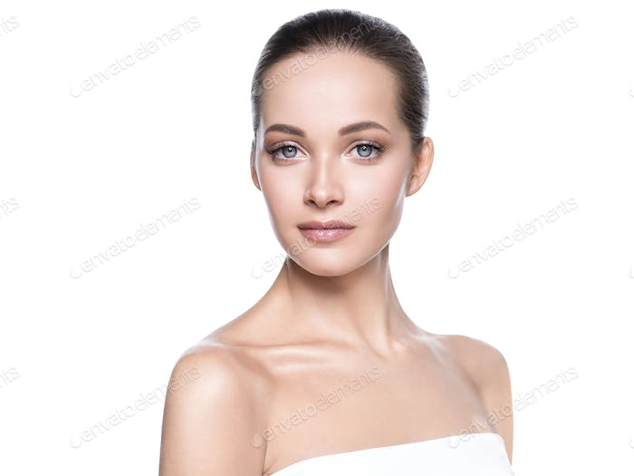 Beauty skin woman face cosmetic concept healthy hair and natural makeup