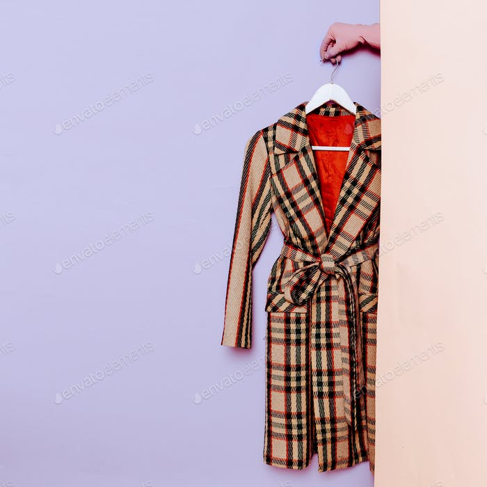 Stylish clothes. Vintage coat. Checkered. fashion wardrobe ideas