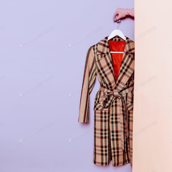 Stylish clothes. Vintage coat. Checkered. fashion wardrobe ideas