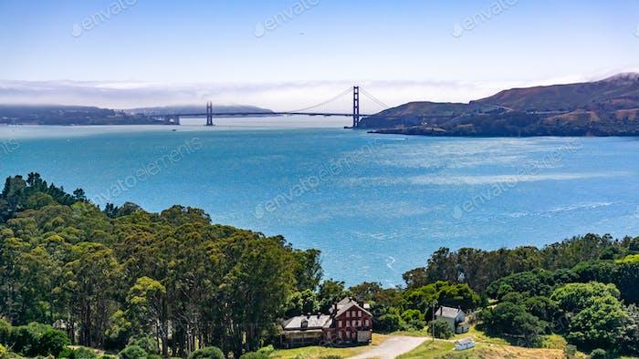 Golden Gate bridge as seen from Angel Island, California
