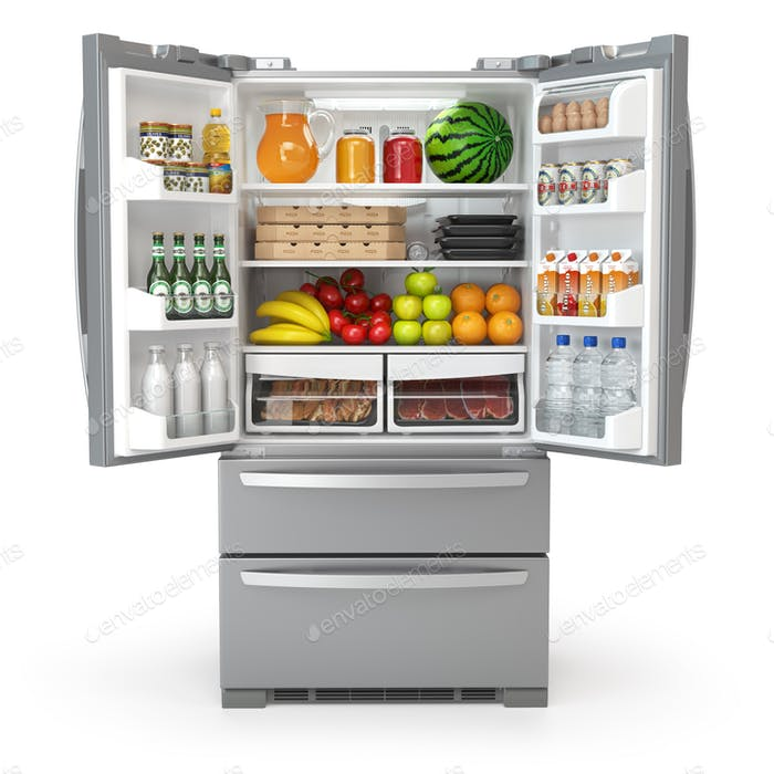 Open fridge refrigerator  full of food and drinks isolated on wh