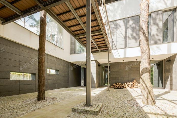 Spacious patio in modern house