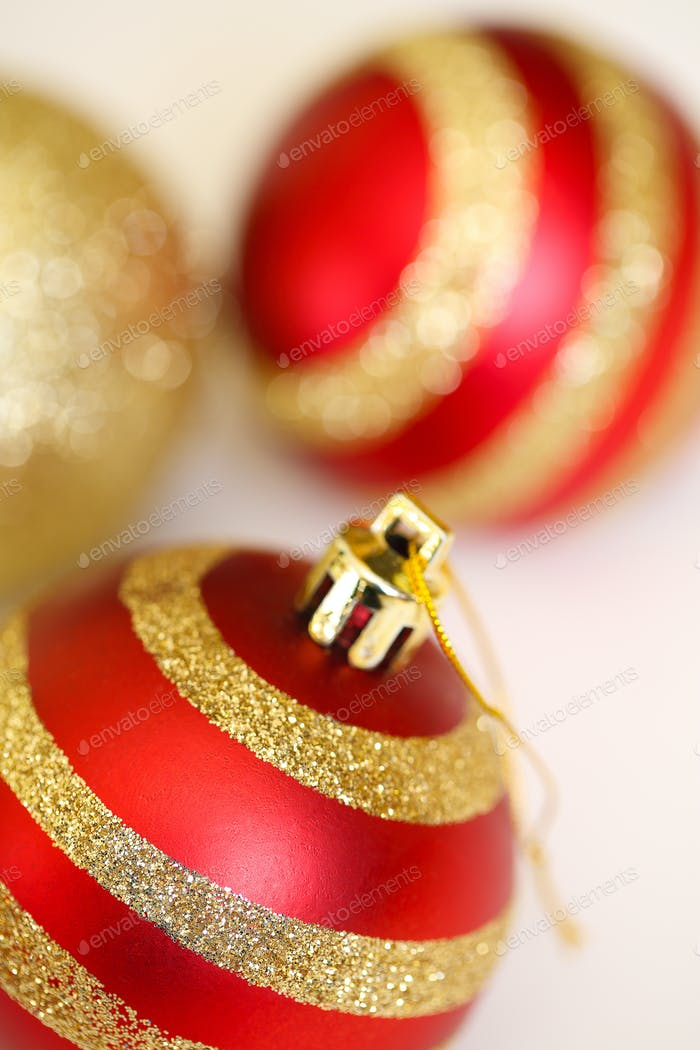 three christmas decoration balls