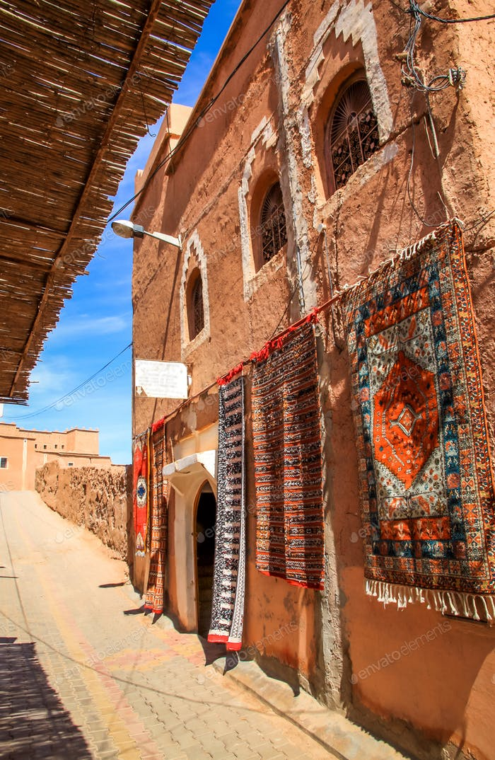 Carpets on sale in Ouarzazate medina