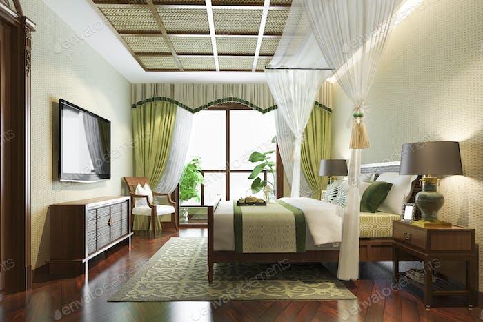 3d rendering luxury tropical bedroom suite in resort hotel and resort