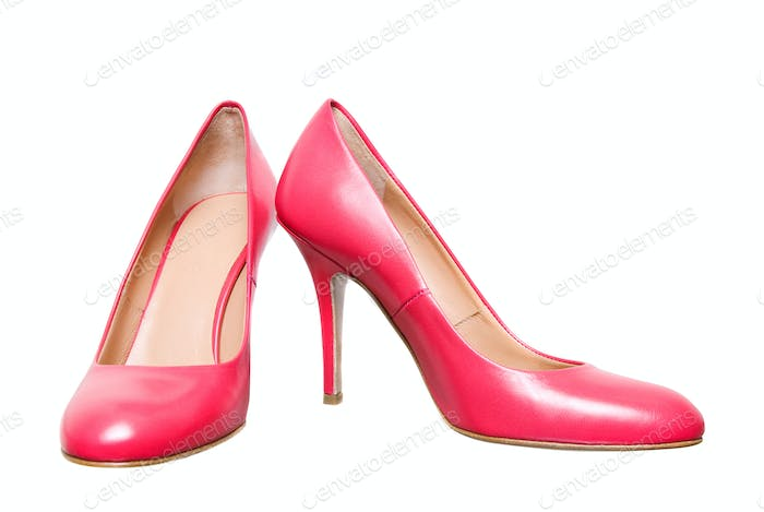pink leather female shoes isolated on white