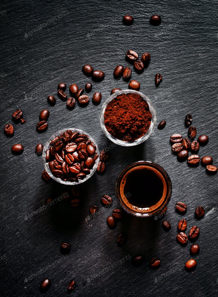 coffee beans, ground coffee, fresh espresso