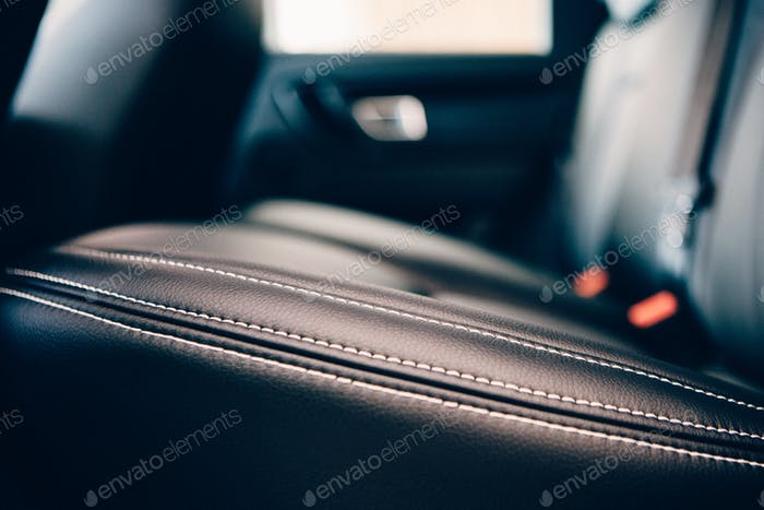 Car seat leather upholstery detail