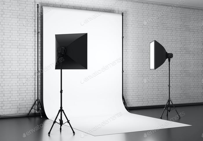 White background lit with Studio equipment against a brick wall. 3d rendering.