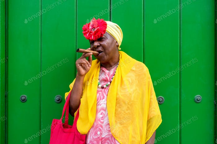 Woman with cuban cigar