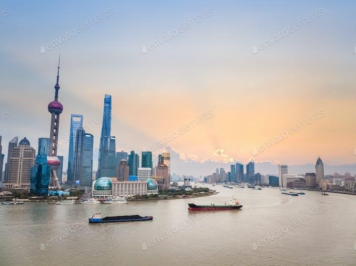 beautiful shanghai cityscape in sunse
