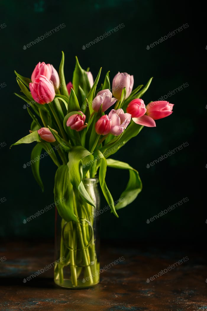 Bouquet of pink tulips