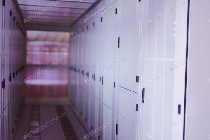 modern server room with white servers