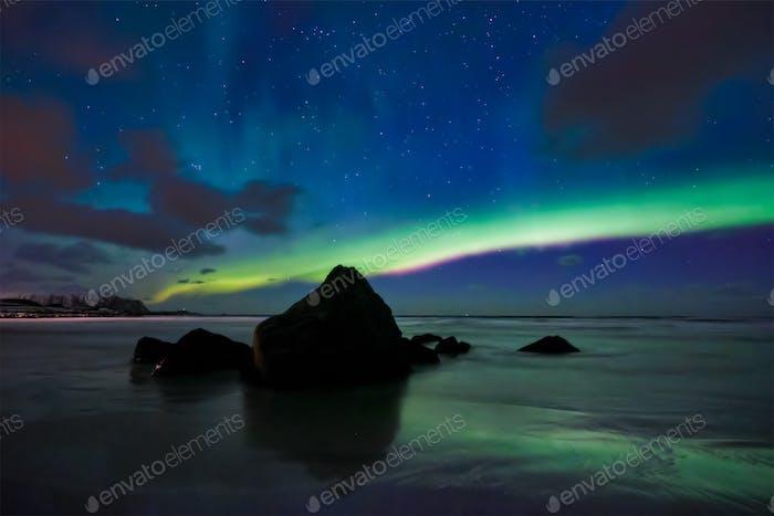 Aurora borealis northern lights. Lofoten islands, Norway