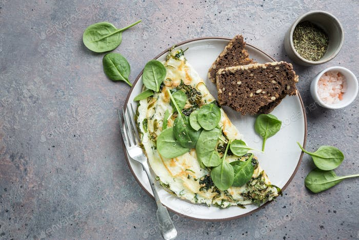Omelette stuffed with spinach