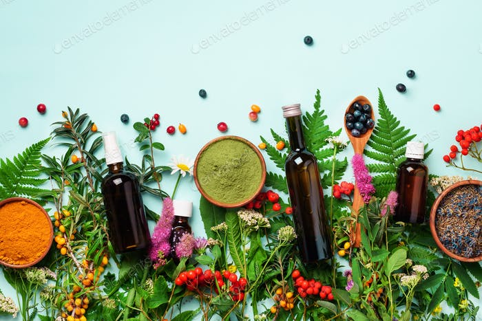 Healthy super food, berries, turmeric, spirulina, omega acid capsules, vitamin c supplement