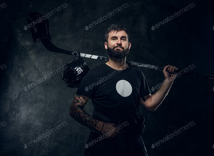 Portrait of powerful hockey player