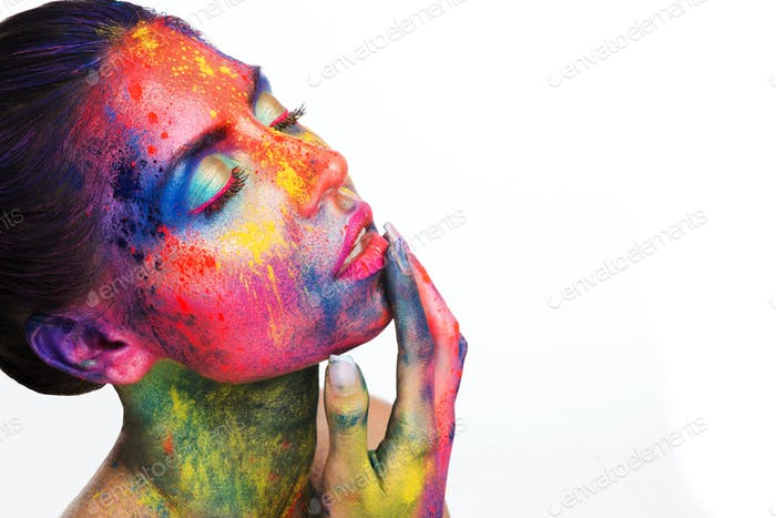 Sensual woman with bright colorful make up