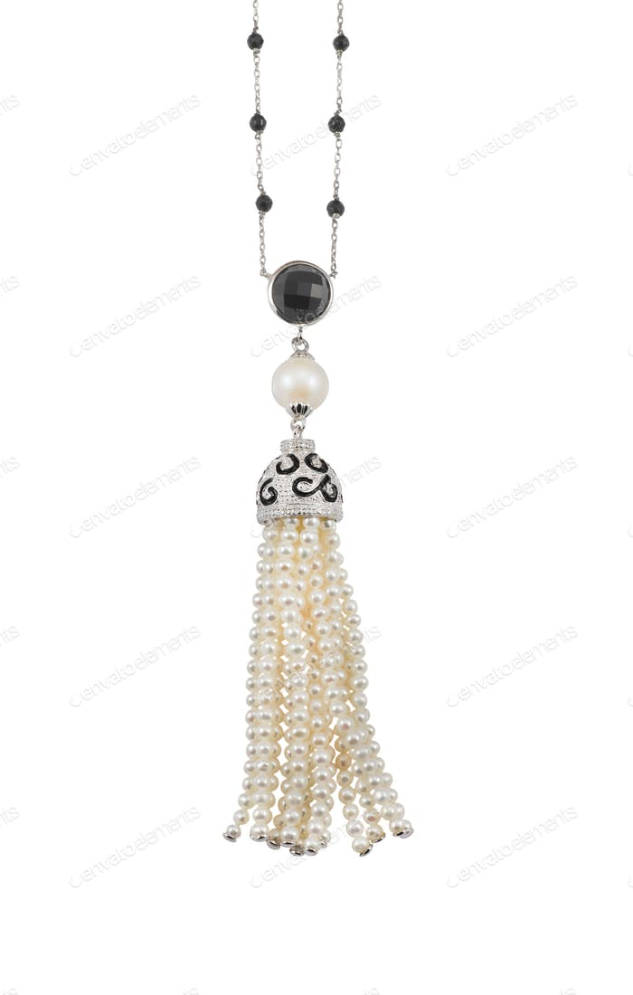 Pearl and diamond tassle necklace