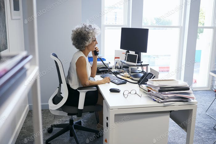 Middle aged businesswoman using the phone in her office