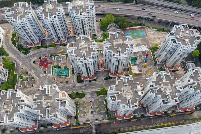 Chai Wan, Hong Kong 22 May 2019: Aerial view of Hong Kong city