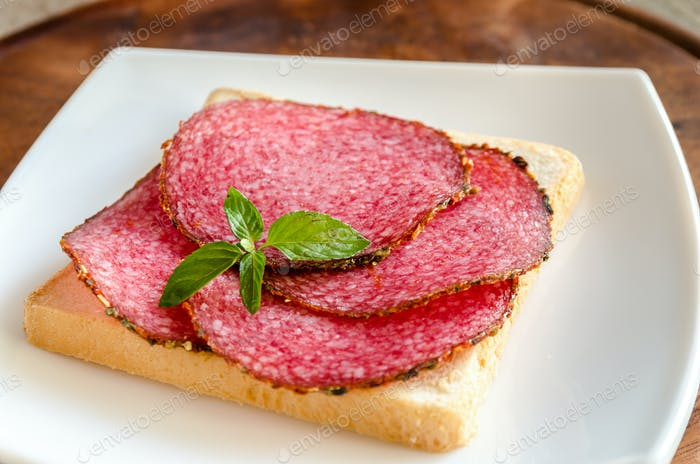 Toast with italian salami