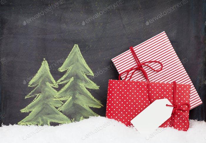 Weihnachtsgeschenk-Boxen und handgezeichnete Tannenbaum