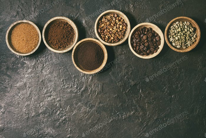 Variety of coffee beans
