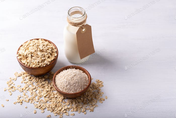 Oat flakes,flour and milk
