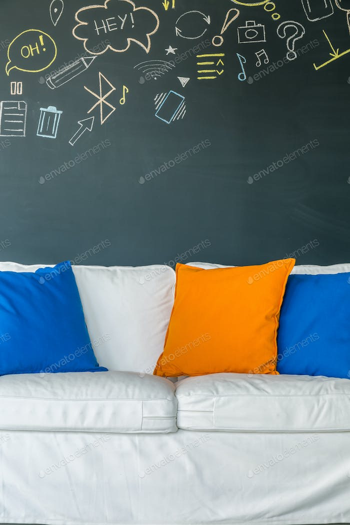 Sofa with colorful pillows
