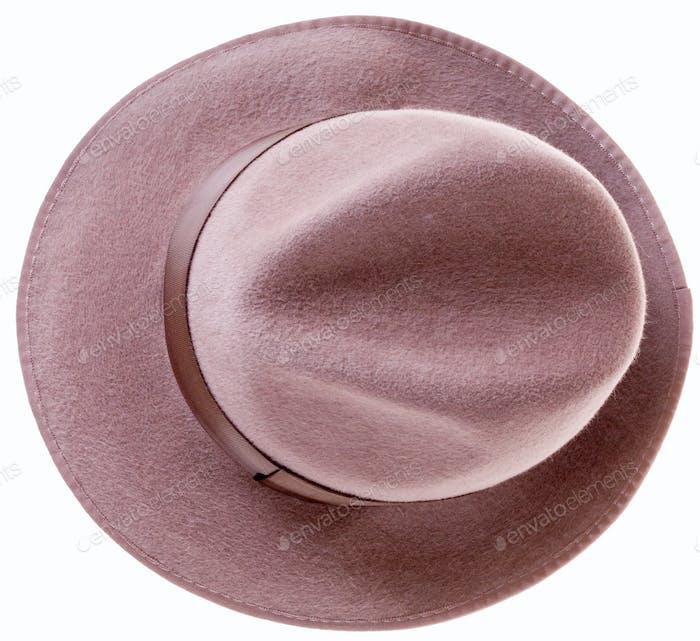 brauner Filz Mannes Hut Draufsicht