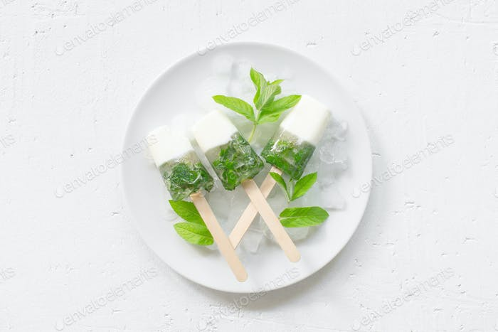 Frozen Joghurt mit Minze, frisches Eis