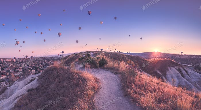 Thumbnail for Vintage photo of hot air balloon flying over rock landscape