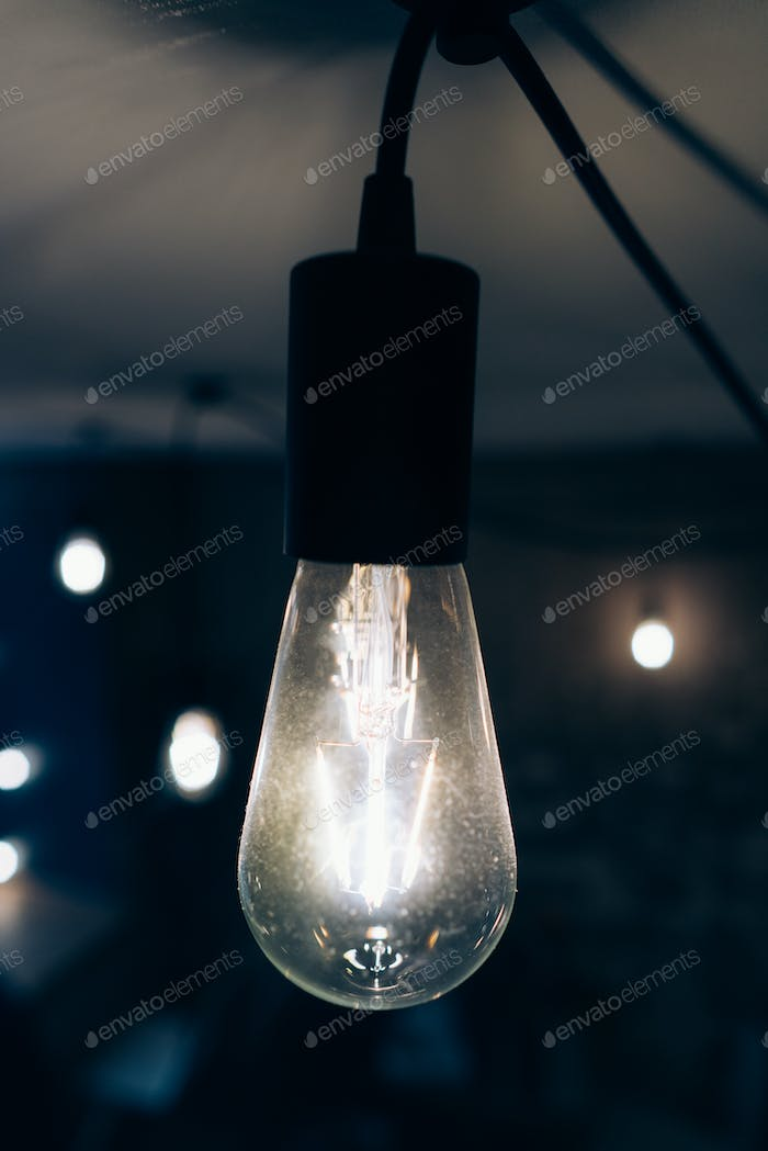 Burning an incandescent edison lamp