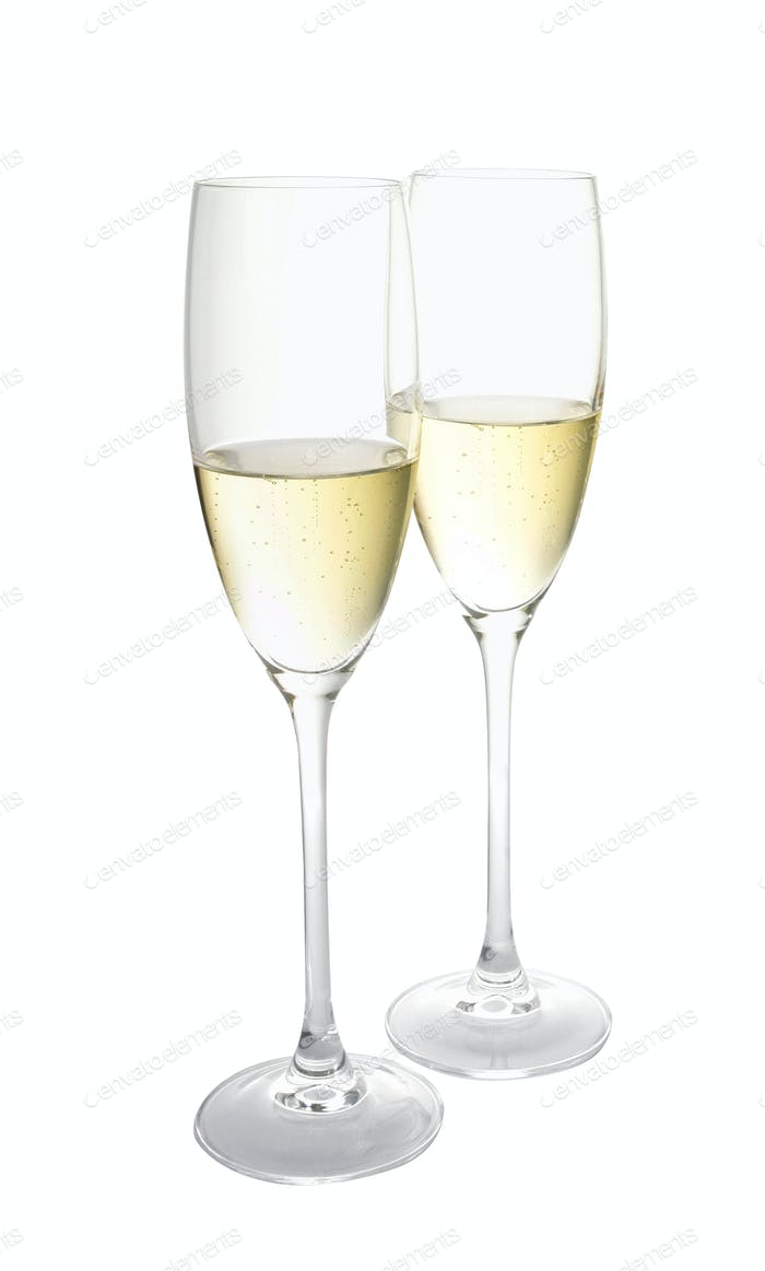 Two glasses of champagne. Isolated
