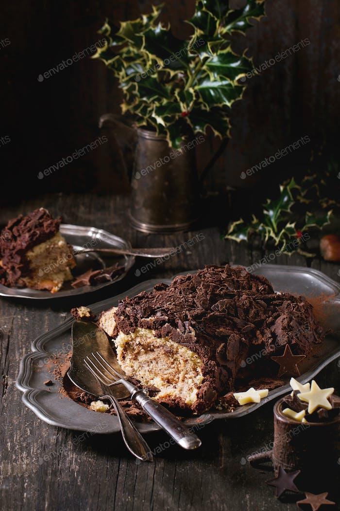 Geschnittene Weihnachten Schokolade yule log