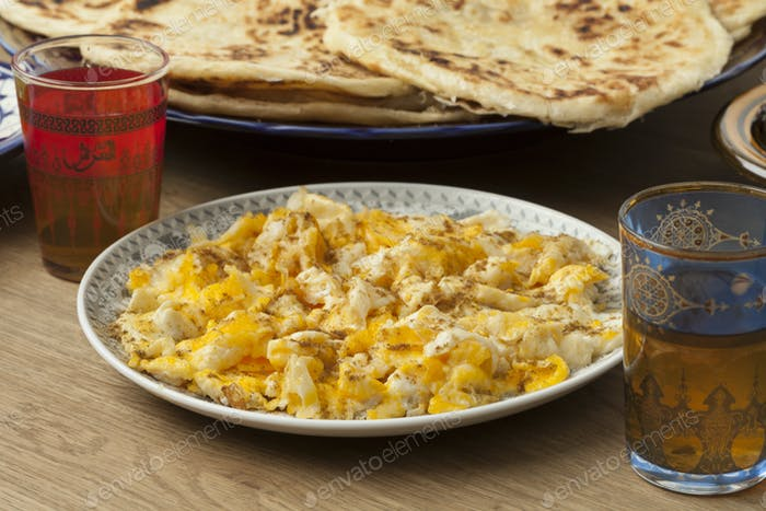 Traditional Moroccan breakfast with scrambled eggs