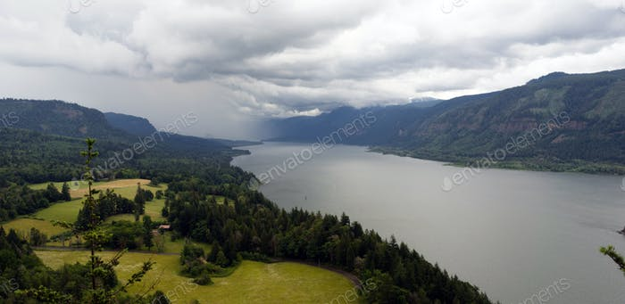 Storm Moving In Columbia River Gorge Washington United States