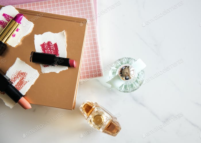 Flat lay of woman cosmetic isolated