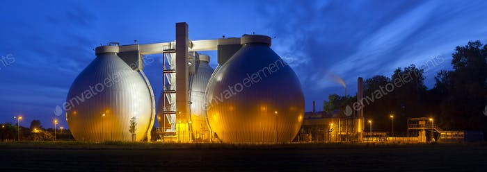 Sewage Plant At Night Panorama