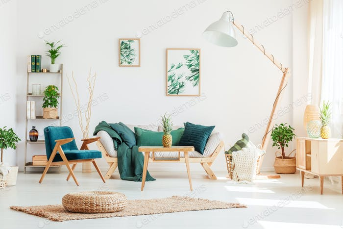 Living room with green furniture
