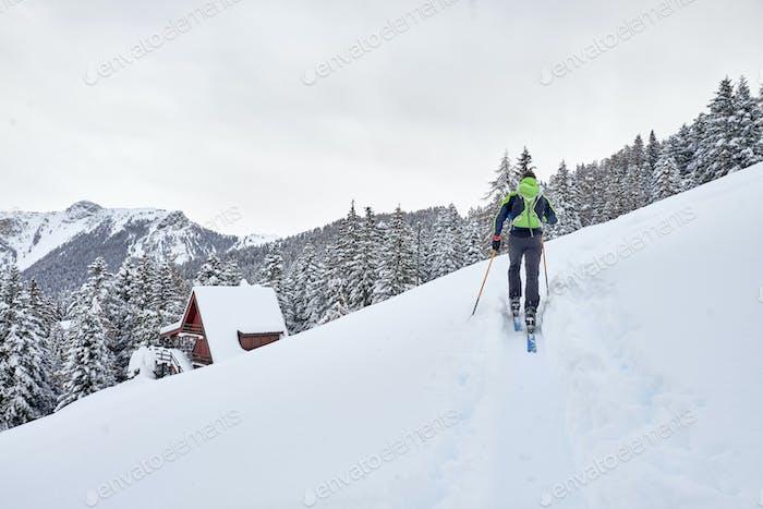 A man on a lonely ski tour