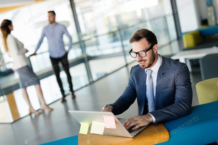 Professional handsome businessman using laptop at workplace