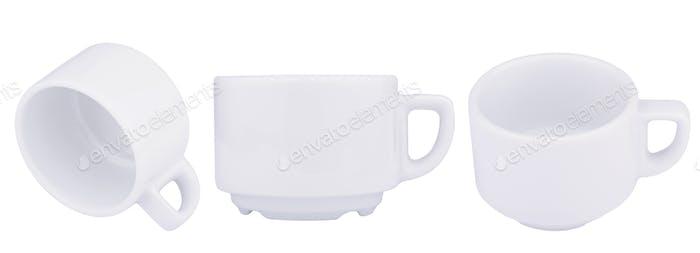 Leere weiße Kaffeetassen Porzellan isoliert auf weiß