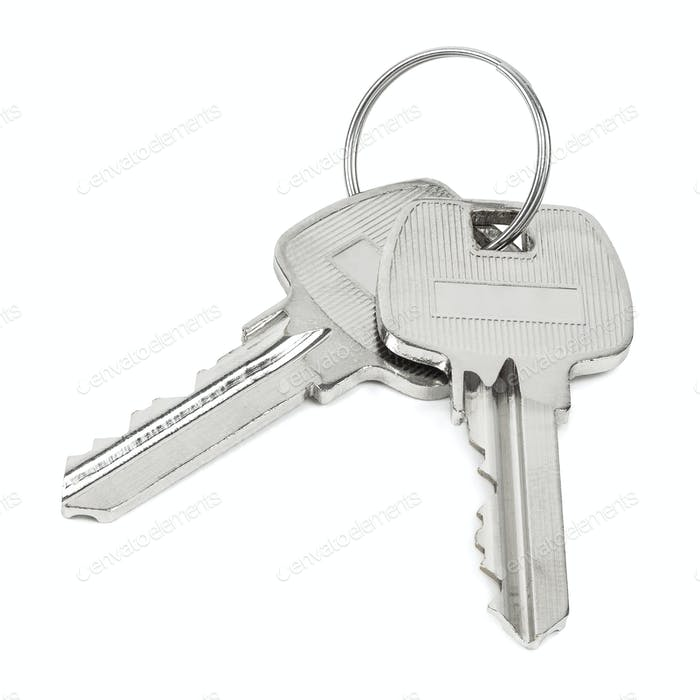 Two keys on key ring isolated on white background