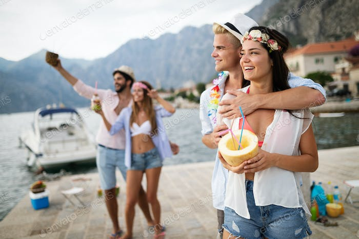 Summer joy and friendship concept with young people on vacation